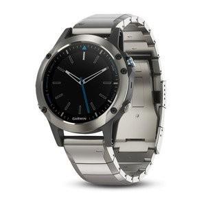 Garmin, QUATIX 5 SAPHIR, Grau/Silber Metall-Luenette mit QUICKFIT-Metall-Armband 22mm Silber + Silik